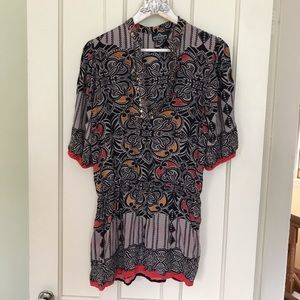 Angie Boho Floral w/ Metal Accent Tunic Top